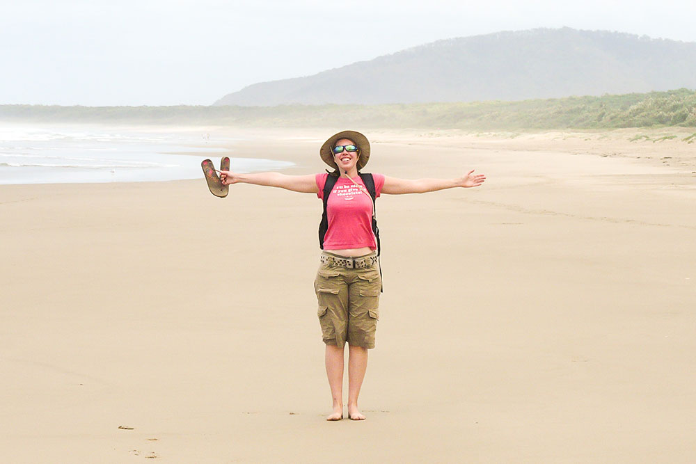 Arja op het strand